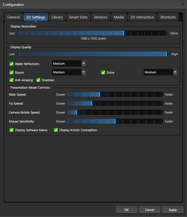 Create Presentation Configuration 3D Settings