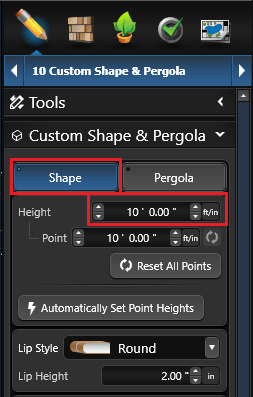 Custom Shape Height
