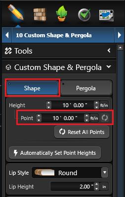 Custom Shape Point Height