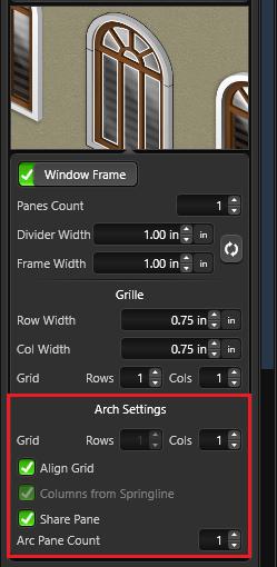Window arch settings