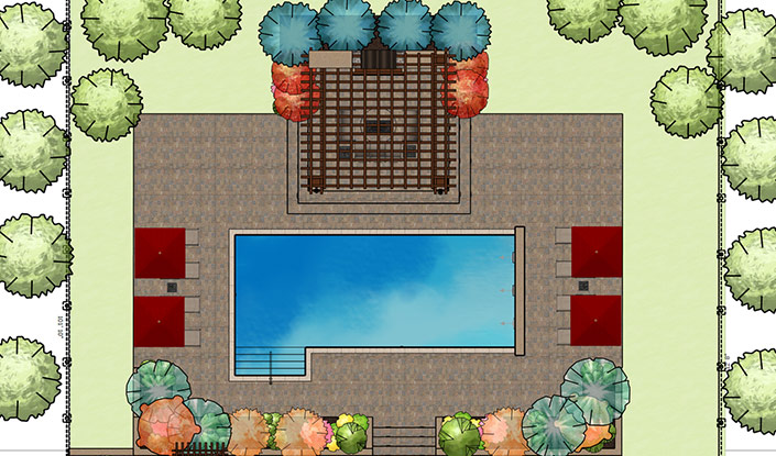 Colored Construction Plan in Vip3D Garden Design Software