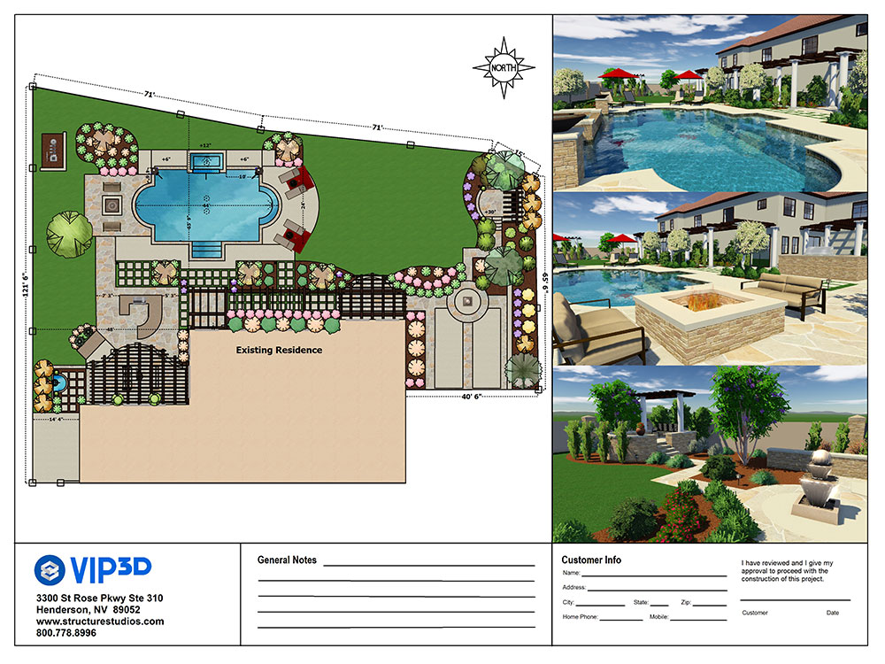 Pool and landscape design software construction features for Pool design software