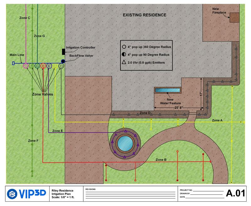Irrigation Lines in Garden and Landscape Design Software Construction Plans - Vip3D