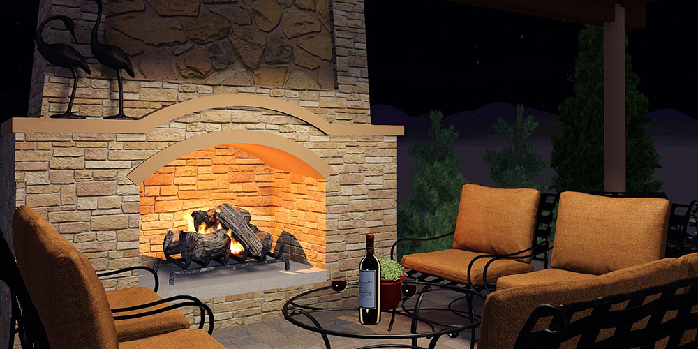Outdoor Fireplaces in 3D Pool, Landscape, and Garden Design Software