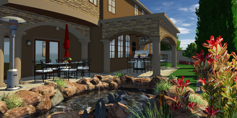 Outdoor Furniture in 3D Pool, Landscape, and Garden Design Software