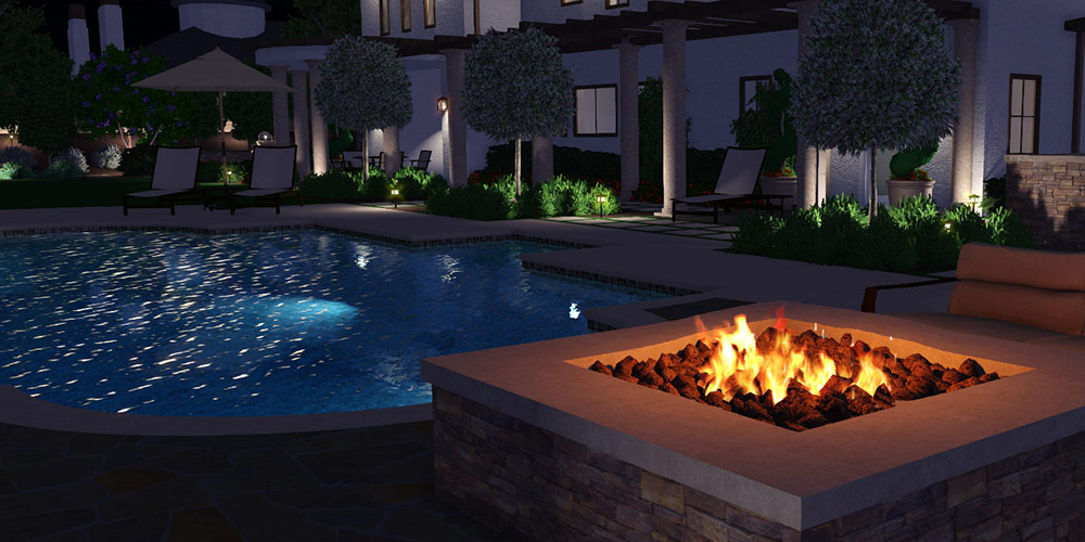 Water and Fire Features in 3D Pool, Landscape, and Garden Design Software