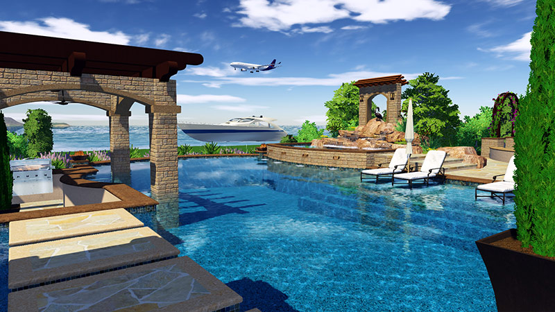 Import any sketchup in Vip3D Pool and Landscape Design Software