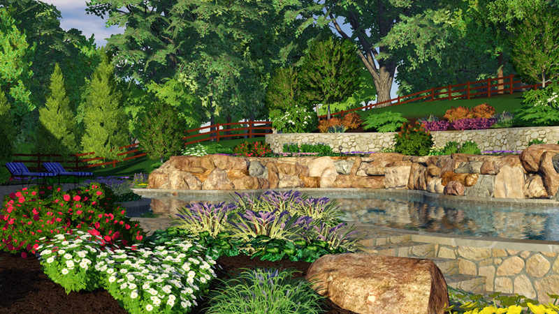Garden Design Software with Topographic Terrain