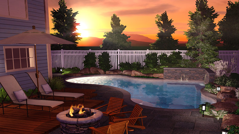 3D Swimming Pool Design Showing Time of Day