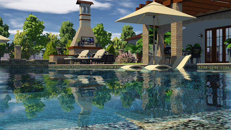 Professional Pool Design Software with Outdoor Fireplace