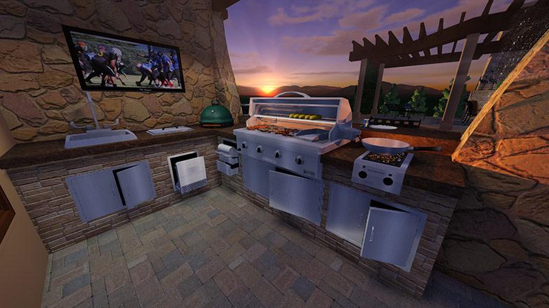 3D Professional Landscape Design Software Outdoor Kitchen